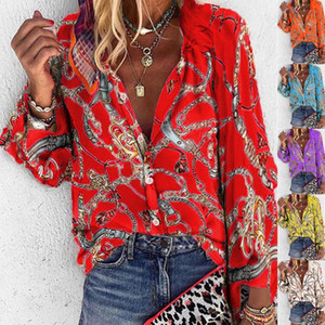 New Pattern Plus Size Women Blouse V-neck Long Sleeve Chains Print Loose Casual Shirts Womens Tops and Blouses