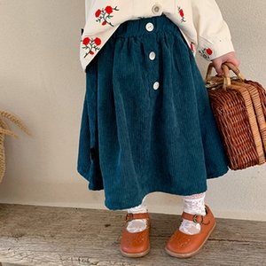 좋은 품질 아이 옷 소녀 골드 코듀로이 스커트 아이 인 공주 드레스 봄 가을 패션 부티크 주름 스커트 아기 의류