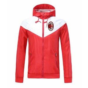 2020 AC Milán otoño e invierno chaqueta deportiva de fútbol de manga larga cazadora completa de la cremallera de la chaqueta transpirable cómodo