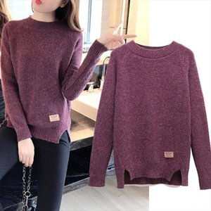 2020 New Winter Casual Sweater Loose Fashion Knitted Sweater Round neck Long Sleeve Pullovers Knit Sweater Female Plus Size R417