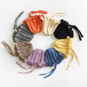 Kid's вязаные шапки Catton прекрасные кружевные шапочки с повязкой дети сплошные трикотажные колпачки зима девочка теплая шляпа малыша детские подарки lsk978
