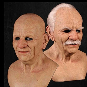 2020 NOUVEAU Old Man Masque Halloween Creepy rides Masque Halloween Costume réaliste Latex mascarade carnaval Hommes Visage