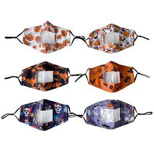 Halloween lábio máscaras Designer protecção facial para adultos com Máscaras Limpar janela visível Cotton Mouth cara reutilizável Máscara Facial HWB2303