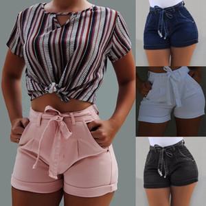 2020 Women's Short Summer Loose Rope Tie Short 2020 Sport Shorts Casual Elastic Waist Shorts Pink Pocket Beach