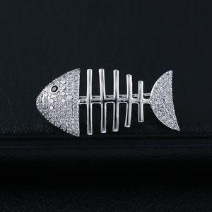 u5K1M personnalité CRYSTAL os sécurité Broche micro incrusté zircons de haute qualité Broche hommes poissons broche collier épingle 3034