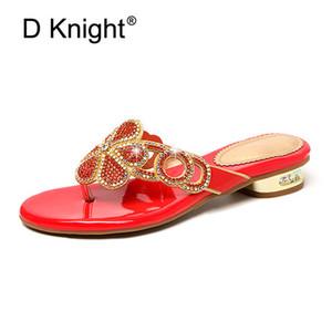 2020 New Summer Women Lady Flip Flops Fashion Rhinestone Open Toe Low Heels Slippers Shoes Woman Clip Toe Sandals Slippers Women