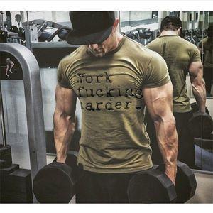 YEMEKE Verão irmãos aptidão muscular totalmente em algodão T-shirt de manga curta roupa da aptidão casuais respirável