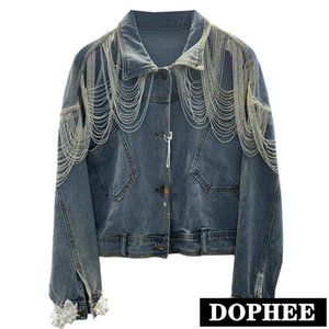 Heavy Industry Denim Outwear femmina 2020 autunno nuova catena scialle di pizzo di cucitura dei jeans Giacca Loose Women Denim Giacche