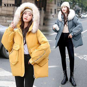 NEEDBO Зимняя куртка женщин 2020 меховой воротник Parka Mujer Puffer куртка женщин пальто зимы хлопка проложенный Теплый Повседневный Casaco Outwear