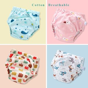 Baby cloth diapers 2020 baby training pants can wash 6 layers of gauze diaper pocket learning pants breathable partition diapers
