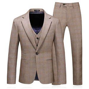Fashion Men Business Suits Slim Fit Mens Suit Jacket + Pants + Vest High Quality Autumn Winter Lattice Suit Men 3piece Set