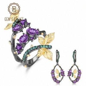 GEM'S BALLET 5.55Ct Ensemble de bijoux Améthyste Naturel Argent 925 main Ensembles réglables Bague Boucles d'oreilles pour les femmes mariage GlLD #