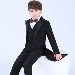 Formal Boys Tuxedo Set Children Wedding Host Piano Performance Party Costume Kids Long Blazer Vest Shirts Pants Bowtie Outfits