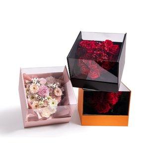 2adet çiçek kutusu akrilik panoramik kare Sevgililer Günü çiçek ambalaj hediye kutusu pembe düğün nişan gelin yılbaşı gül