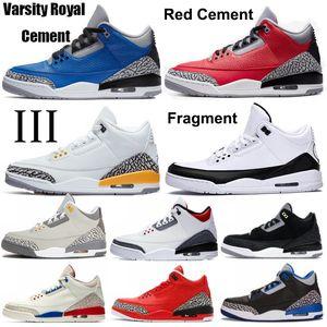 2020 Fragment Jumpmans Unc SE DNM Fire Red Black Ciment Varsity Cool Grey Grey Hommes Basketball Chaussures III OG Baskets Orange Laser Formateurs