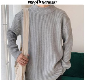 Privathinker 2019 Automne 9 couleurs Sweater Hommes Pullovers Hauts Casual Male Tricoté solides Streetwear Hommes Fashions chandail chaud CJ191219