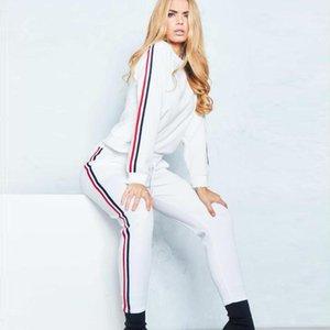 Костюмы Для женщин Дизайнерские Щитовые Line костюмы Мода длинным рукавом Длинные брюки женские костюмы повседневные Женщины Повседневная