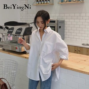 Beiyingni Spring Autumn Women Shirts White Plain Loose Oversized Blouses Female Tops Loose BF Korean Style Blusas Pockets 200928