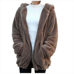 Women Hoodies Zipper Girl Winter Loose Fluffy Bear Ear Hoodie Hooded Jacket Warm Outerwear Coat Cute Sweatshirt