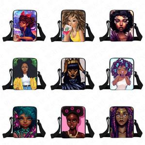 5PCS / DHL afro meninas de volta as embalagens dos desenhos animados Bloco de Fanny Bolsa Bandoleira Sacos Crianças Crianças Os alunos de um ombro Messenger Bag Spotrs Tote D8505