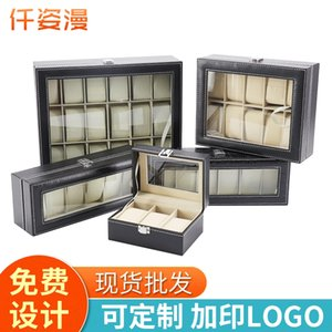 3-6 assentos 10 12-bit 20 24-bit caixa de relógio relógio da jóia jóias pu caixa de jóias de couro kE6y4