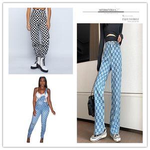 Damen karierte Wide Leg Jeans Frühlings-Frauen mit hoher Taille Plus Size Fashion dünne Denim-Hosen Frau Cargo Pant Street