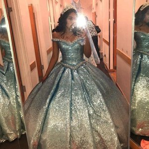 Blue To Silver Sequins Satin Ball Gowns Sweet 16 Dresses 2021 Crystals Beaded Off The Shoulder Prom Girls Pageant Dress Quinceanera Gowns