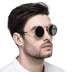 Steampunk Punk Flip Sunglasses Round Men Women Vintage Retro Metal Frame Male Eyewear Circle Glasses Oculos 3507