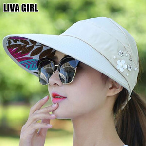 Liva Girl Hot Summer Anti-Uv Collapsible Sun Hats Foldable Wide Large Brim Floppy Beach Hat Outdoors Visors Cap Unisex Accessory