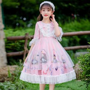 Girls Princess Lolita Dress Autumn Winter Plaid Kids Children Baby Vintage Long Sleeve OP Ball Gown Bow Dress Vestidos