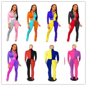 Kadın iki parçalı Giyim Seti Pantolon Eşofman Fermuar Ceketler Coat Mahsul Tops ve Tozluklar Kıyafet Eşofman Spor takım elbise Plus Size S-4XL LY902