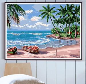 sayılar akrilik boya seti ile yetişkin petrol Plaj deniz manzarası resimler için çerçeve ile sayılar kitleri ile DIY boyama handpainted