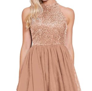 Gold Sequins Bling Evening Dresses Short Prom Gown Halter Neck High Quality Custom Made Backless Party Skirts