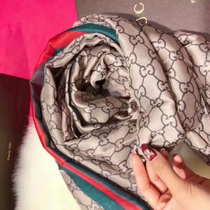 Дизайнер шелк Длинный шарф для женщин Горячие продажи бренда Письмо Печатные шали шарфов пашмины Лето Большой Хиджаб Платки для дам 180x90cm