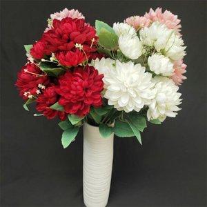 """Fake Dahlia Pinnate Cv (9 stems bunch) 19.29"""" Length Simulation Dahlias for Wedding Home Decorative Artificial Flowers"""