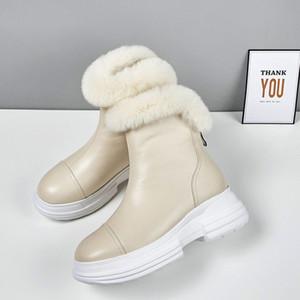 MLJUESE 2020 inverno stivali di pelle delle donne caviglia mucca misto lana rotonda piattaforma cerniere punta stivali da neve femminili abito da sposa partito
