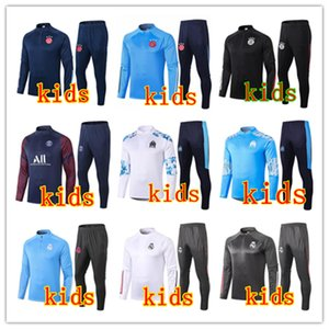 20 21 Real Madrid ajax kids soccer tracksuit 2020 2021 paris mbappe marseille Survêtement de football training suit jogging chandal futbol