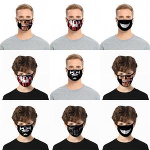 Denti Polvere Viso teschi neri Mascarilla Moda maschere lavabile polvere Proteggere respiratore riutilizzabile personalizzato traspirante Adulti Bambini 2 C2 2BL