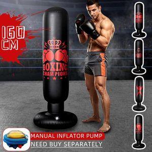 Training Fitness Vertical Inflatable Boxing Bag PVC Thickening Boxing Pillar Tumbler Column Punching Bag Fitness Tool Air Pump