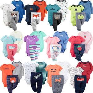 Baby Girl Clothes Set 100% de algodão Long Body + Calças + manga curta Jumpsuit 3Pcs / Lot recém-nascido Bebes Roupa infantil