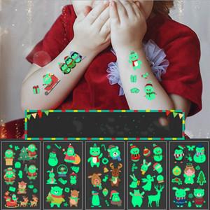 Natale luminoso impermeabile Tattoo Sticker Art corpo fluorescente Temporary Tattoo Sticker Halloween della decalcomania del fumetto dei capretti faccia Tatuaggio E92703
