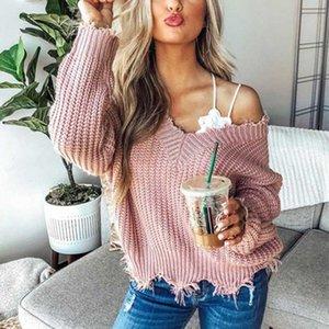 Muyogrt Strickpullover für Frauen Herbst Riss V-Ausschnitt Lose Pullover Pullovers Damen Sexy Schulter Quaste Tops