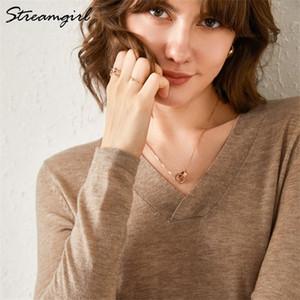 Lana Streamgirl otoño invierno de la cachemira del suéter de las mujeres con cuello en V para mujer de punto suéter de cachemira suéteres de invierno suéter mujeres calientes 0925