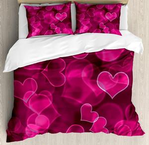 Bulanık Arkaplan Romantik Aşk Sevgililer Günü Uyku Seti Eflatun Sıcak Pembe Hot Pink Nevresim Seti Sevimli Tatlı Kalp Şekilleri