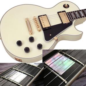 Coutume guitare électrique, Vintage Blanc, Ebène, mère de incrustations de perles, reliure / couverture fin de frets