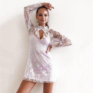 Sheer филенчатые женщин платья Sexy Bodycon платья способа сплошного цвета с длинным рукавом Платья Женская одежда конструктора Lace