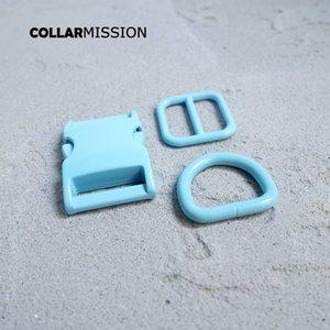 Розничная торговля (металлическая пряжка + корректировка пряжки + D кольцо / набор) DIY воротник для собак синий 20 мм стегающую швейные аксессуар аксессуары