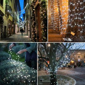 أبيض 100 LED الشمسية سلسلة الجنية الضوء حفلة عيد الميلاد لقاعة حفلات، قاعة الزفاف، مطعم، مول