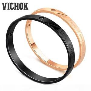 """316L acciaio inossidabile coppia braccialetto del braccialetto con """"Love Forever"""" Lettere per le donne gli uomini regalo dell'amante oro rosa nero a colori con B"""