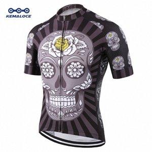 Manica corta KEMALOCE Nazionale compressione Cycling Jersey Ciclismo popolare superiore Skull biciclette vestirsi di nero da corsa Maglie bici Popz #
